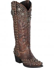 Lane for Double D Ranch Silver Trader Studded Cowgirl Boots - Snip Toe
