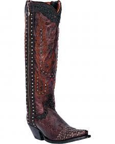 Dan Post Tempted Burgundy Studded Cowgirl Boots - Snip Toe