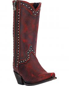 Dan Post Red Studded Cowgirl Zip Boots - Snip Toe