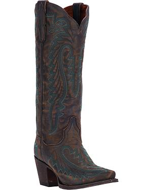 Dan Post Distressed Turquoise Cowgirl Boots - Snip Toe
