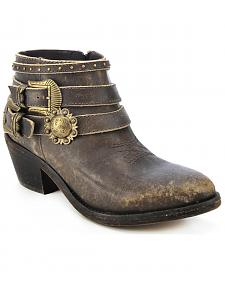 Circle G Distressed Ankle Strap Boots - Round Toe