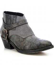 Circle G Vintage Harness Booties - Round Toe
