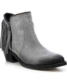 Circle G Fringe Zip Short Boots - Round Toe