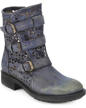 Circle G Buckled Cut-Out Ankle Boots - Round Toe