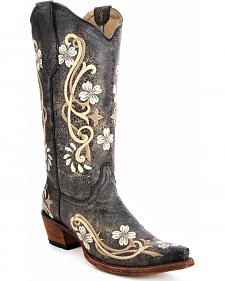 Circle G Floral Embroidered Cowgirl Boots - Snip Toe