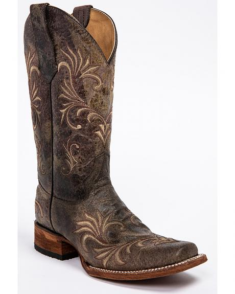 Circle G Distressed Filigree Cowgirl Boots - Square Toe