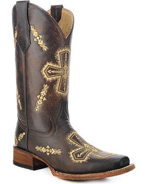 Circle G Embroidered Cross Cowgirl Boots - Square Toe