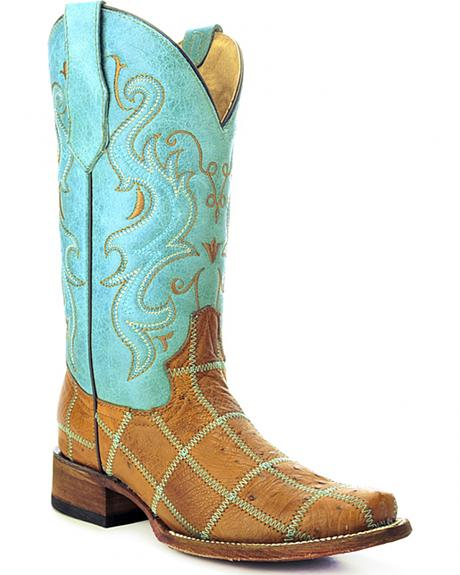 Circle G Ostrich Patchwork Cowgirl Boots - Square Toe
