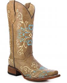 Circle G Embroidered Heart Cowgirl Boots - Square Toe