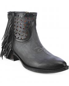 Circle G Fringe Cut-Out Ankle Boots - Round Toe