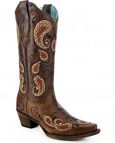 Corral Women's Paisley Pattern Cowgirl Boots - Snip Toe