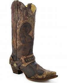 Corral Women's Studded Harness Cowgirl Boots - Snip Toe