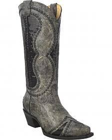 Corral Women's Diamond Inlay Cowgirl Boots - Snip Toe