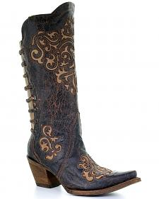 Corral Women's Inlay and Straps Cowgirl Boots - Snip Toe