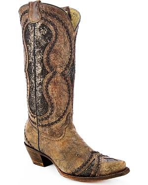 Corral Womens Glitter Diamond Inlay Strap Cowgirl Boots - Snip Toe