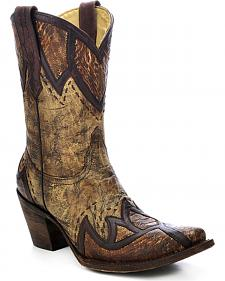 Corral Women's Ostrich Leg Short Cowgirl Boots - Snip Toe