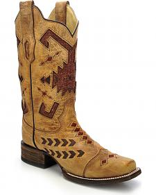 Corral Women's Jute Inlay Cowgirl Boots - Square Toe