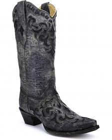 Corral Women's Stingray Inlay Cowgirl Boots - Snip Toe