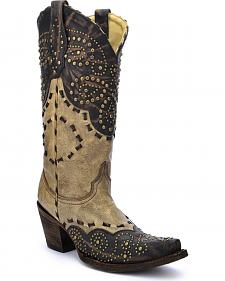 Corral Women's Studded Pattern Cowgirl Boots - Snip Toe