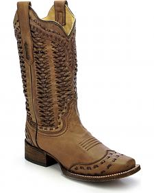 Corral Women's Braided Shaft Cowgirl Boots - Square Toe