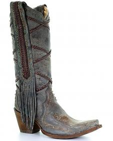 Corral Women's Braided Fringe Cowgirl Boots - Snip Toe