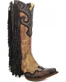 Corral Studded Fringe Cowgirl Boots - Snip Toe