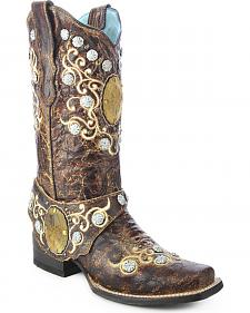Corral Concho Harness Cowgirl Boots - Square Toe