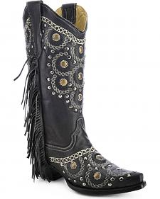 Corral Studded Side Fringe Cowgirl Boots - Snip Toe