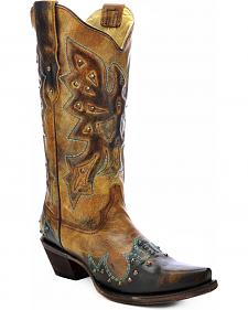 Corral Eagle Studded Cowgirl Boots - Snip Toe