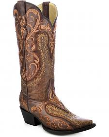 Corral Women's Floral Embroidered Overlay Cowgirl Boots - Snip Toe