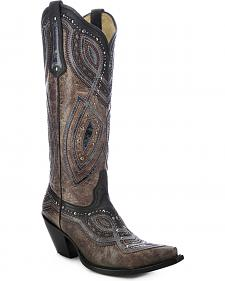 Corral Studded Overlay Cowgirl Boots - Snip Toe