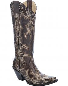 Corral Laser Cut Tall Cowgirl Boots - Snip Toe