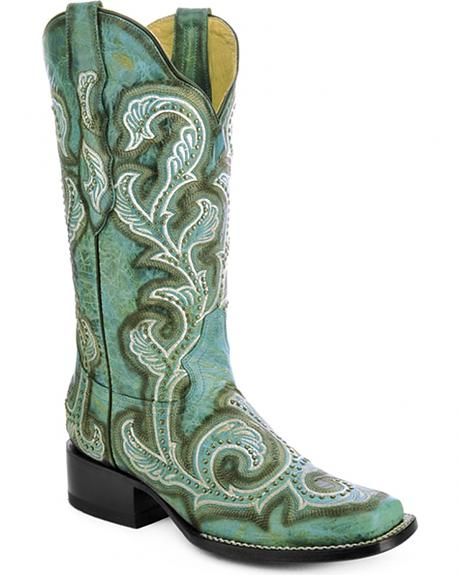Corral Turquoise Studded and Embroidered Cowgirl Boots - Square Toe