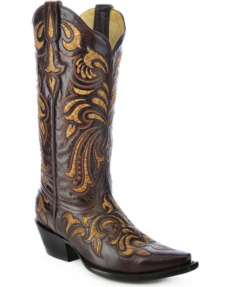 Corral Multicolored Embroidered Cowgirl Boots - Snip Toe