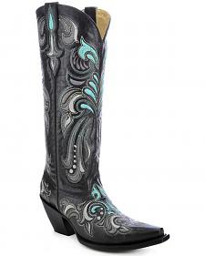 Corral Women's Embroidered Tall Cowgirl Boots - Snip Toe