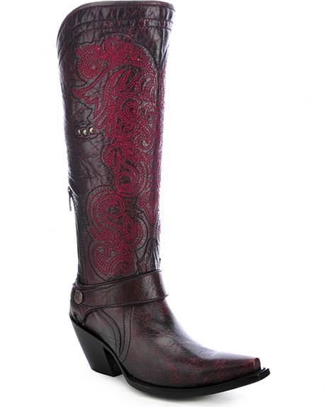 Corral Embroidered Harness Cowgirl Boots - Snip Toe