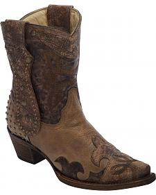 Corral Studded Long Pull Strap Short Cowgirl Boots - Snip Toe