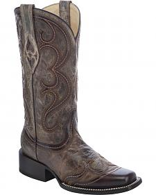 Corral Overlay Cowgirl Boots - Square Toe