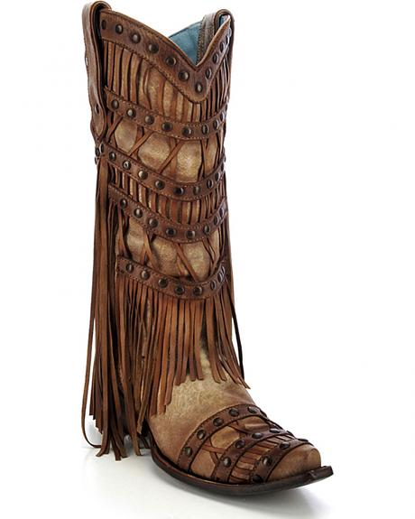 Corral Women's Studded Fringe Cowgirl Boots - Snip Toe