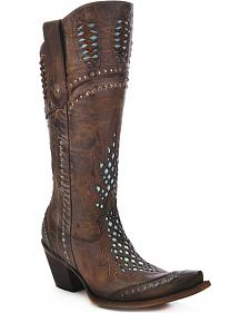 Corral Women's Studded Cutout Cowgirl Boots - Snip Toe