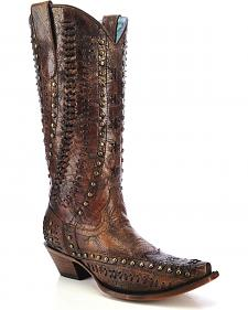 Corral Women's Studded Woven Cowgirl Boots - Snip Toe