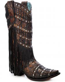 Corral Layered Fringe Studded Cowgirl Boots - Snip Toe