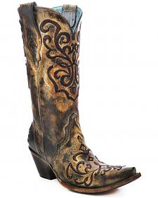 Corral Women's Cord Stitch Cowgirl Boots - Snip Toe
