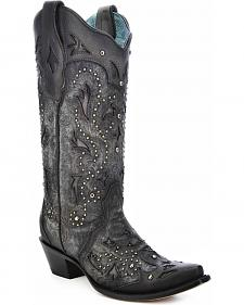 Corral Women's Studded Embossed Cowgirl Boots - Snip Toe