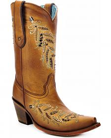 Corral Women's Crystal Leaf Cowgirl Boots - Snip Toe