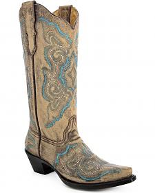 Corral Women's Embroidered Distressed Cowgirl Boots - Snip Toe