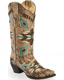 Corral Distressed Aztec Pattern Cowgirl Boots - Snip Toe