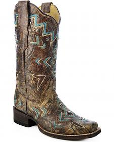 Corral Embroidered Southwest Cowgirl Boots - Square Toe