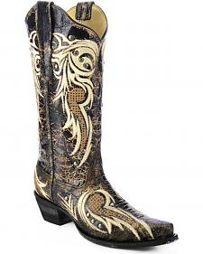 Corral Studded Embroidered Cowgirl Boots - Snip Toe