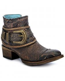 Corral Floral Embossed Short Boots - Round Toe